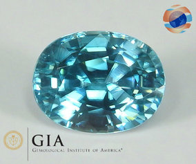 €850 GIA Certified Cambodian Blue Zircon 7.20CT